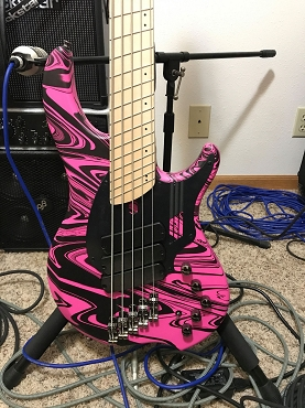 Dingwall NG3 Pink Swirl 5-string Bass Guitar with Dingwall Gigbag